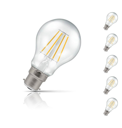 Crompton Lamps Dimmable LED GLS 5W B22 Filament (5 Pack) Warm White Clear (40W Eqv) Image 1