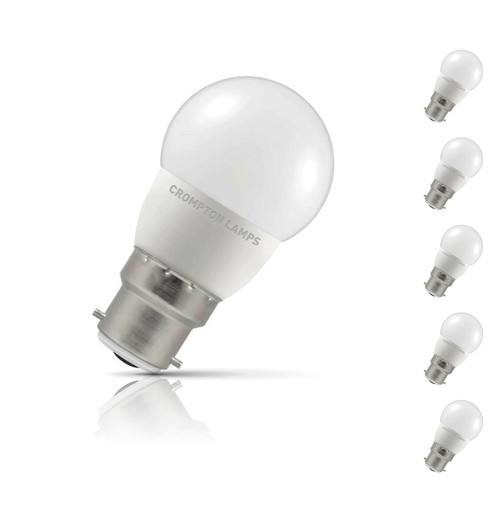 Crompton Lamps LED Golfball 5.5W B22 (5 Pack) Cool White Opal (40W Eqv)