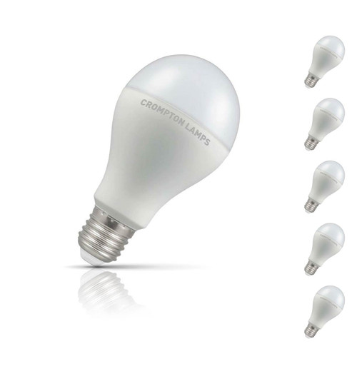Crompton Lamps Dimmable LED GLS 14W E27 (5 Pack) Warm White Opal (100W Eqv)