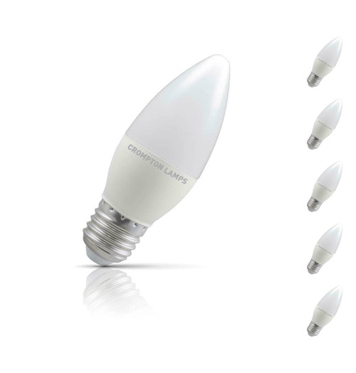 Crompton Lamps Dimmable LED Candle 5W E27 (5 Pack) Cool White Opal (40W Eqv) Image 1