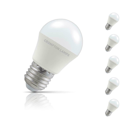 Crompton Lamps Dimmable LED Golfball 5W E27 (5 Pack) Cool White Opal (40W Eqv) Image 1