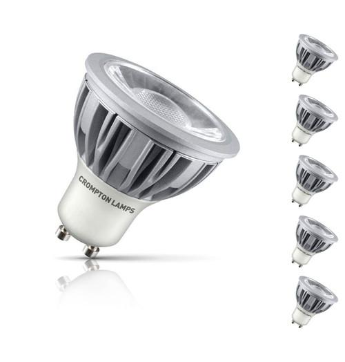 Crompton GU10 Spotlight LED Bulb 5W (75W Eqv) Daylight 5-Pack 45