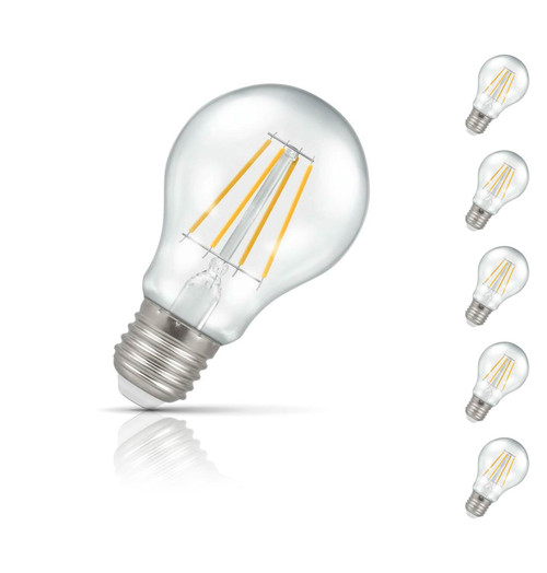 Crompton GLS LED Light Bulb Dimmable E27 5W (40W Eqv) Warm White 5-Pack