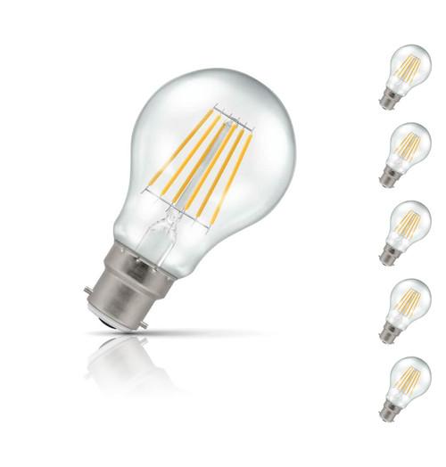 Crompton GLS LED Light Bulb Dimmable B22 7.5W (60W Eqv) Warm White 5-Pack