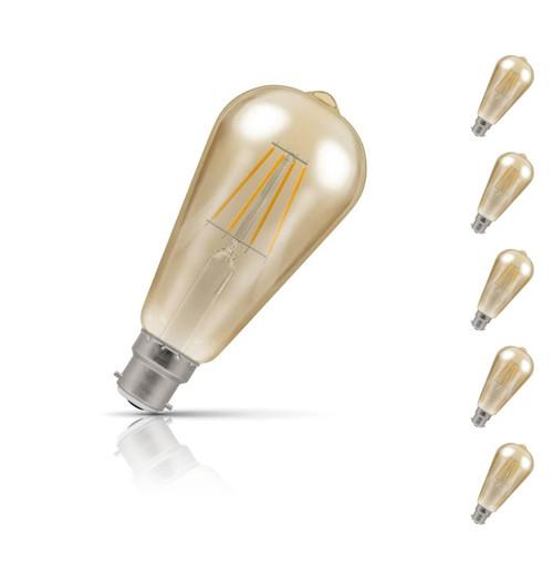 Crompton ST64 LED Light Bulb B22 5W (40W Eqv) Warm White 5-Pack Vintage