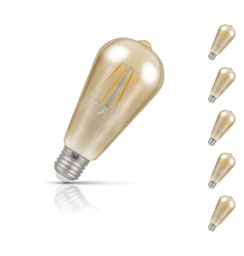 Crompton ST64 LED Light Bulb E27 5W (40W Eqv) Warm White 5-Pack Vintage
