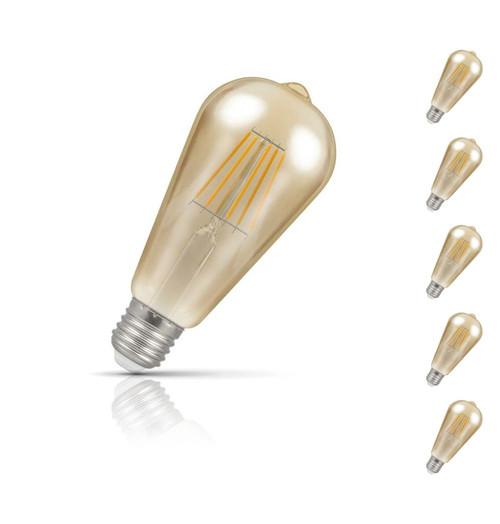 Crompton ST64 LED Light Bulb E27 7.5W (50W Eqv) Warm White 5-Pack Vintage