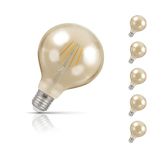 Crompton Globe LED Light Bulb G95 E27 5W (40W Eqv) Warm White 5-Pack Vintage