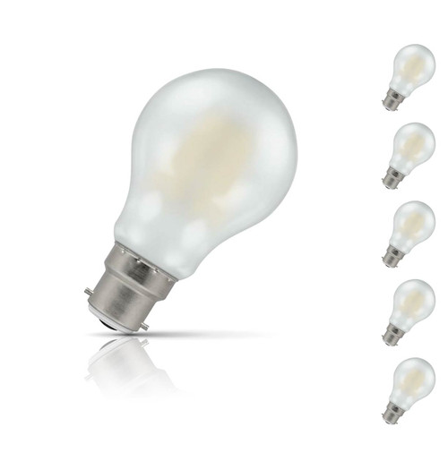 Crompton Lamps Dimmable LED GLS 7.5W B22 Filament (5 Pack) Warm White Pearl (60W Eqv)