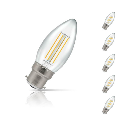Crompton Candle LED Light Bulb Dimmable B22 5W (40W Eqv) Warm White 5-Pack