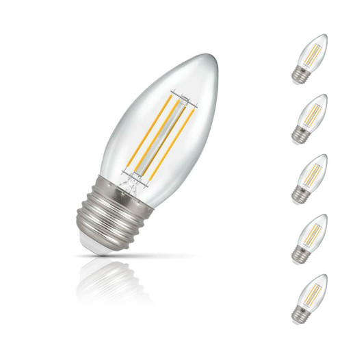 Crompton Candle LED Light Bulb Dimmable E27 5W (40W Eqv) Warm White 5-Pack