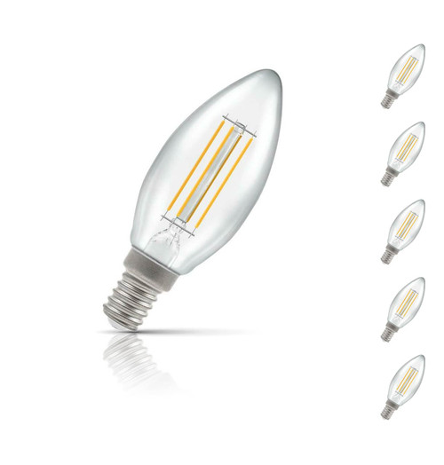 Crompton Candle LED Light Bulb Dimmable E14 5W (40W Eqv) Warm White 5-Pack