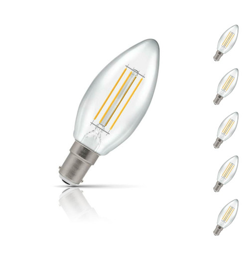 Crompton Candle LED Light Bulb Dimmable B15 5W (40W Eqv) Warm White 5-Pack