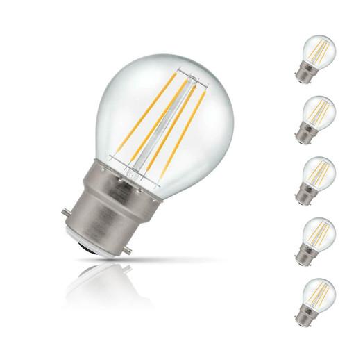 Crompton Golfball LED Light Bulb B22 5W (40W Eqv) Warm White 5-Pack