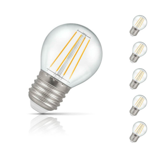 Crompton Golfball LED Light Bulb E27 5W (40W Eqv) Warm White 5-Pack