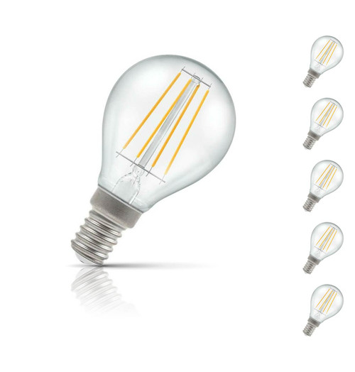 Crompton Golfball LED Light Bulb E14 5W (40W Eqv) Warm White 5-Pack