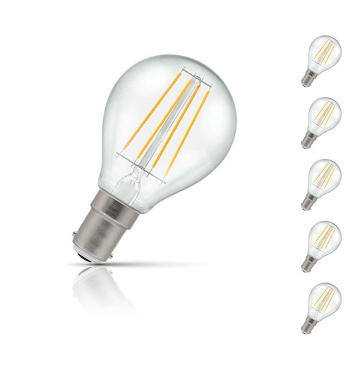Crompton Golfball LED Light Bulb B15 5W (40W Eqv) Warm White 5-Pack