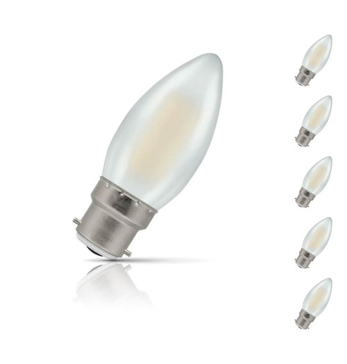 Crompton Lamps Dimmable LED Candle 5W B22 Filament (5 Pack) Warm White Pearl (40W Eqv)