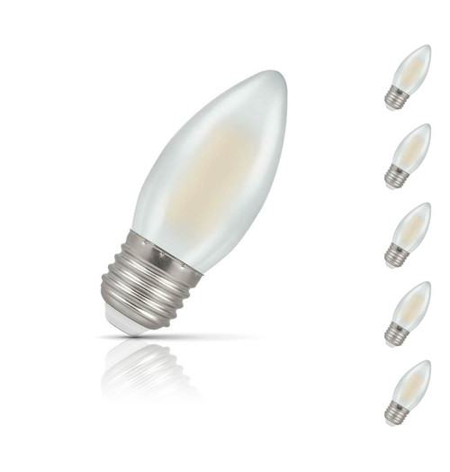Crompton Lamps Dimmable LED Candle 5W E27 Filament (5 Pack) Warm White Pearl (40W Eqv)