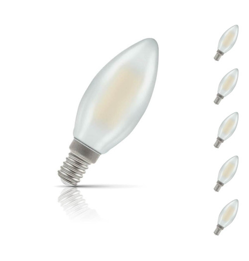 Crompton Lamps Dimmable LED Candle 5W E14 Filament (5 Pack) Warm White Pearl (40W Eqv)