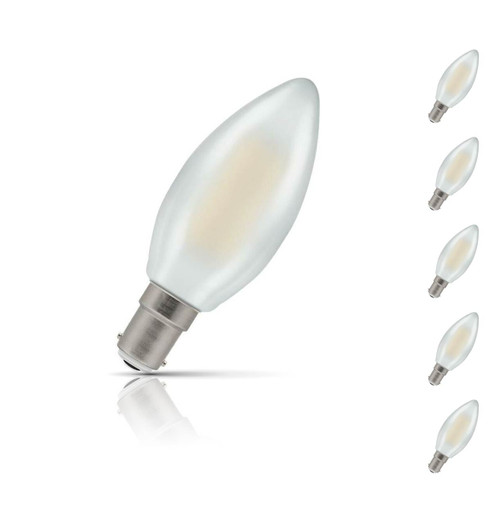Crompton Lamps Dimmable LED Candle 5W B15 Filament (5 Pack) Warm White Pearl (40W Eqv)