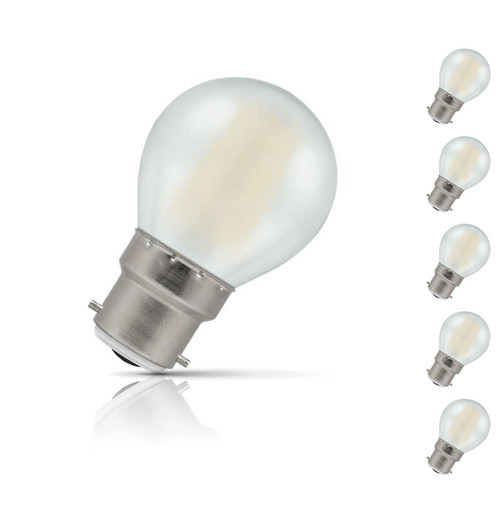 Crompton Lamps Dimmable LED Golfball 5W B22 Filament (5 Pack) Warm White Pearl (40W Eqv)