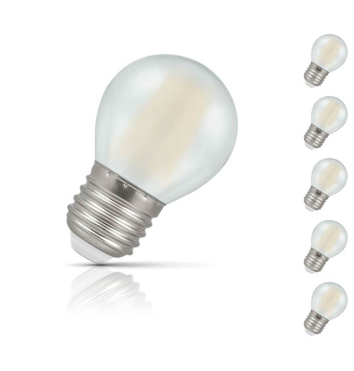 Crompton Lamps Dimmable LED Golfball 5W E27 Filament (5 Pack) Warm White Pearl (40W Eqv)