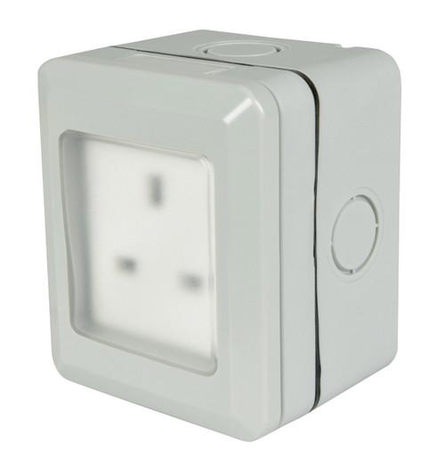 Mercury Weatherproof Outdoor Socket 13A Grey IP55 Image 1