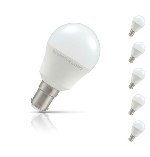 Crompton Golfball LED Light Bulb B15 5.5W (40W Eqv) Warm White 5-Pack Opal