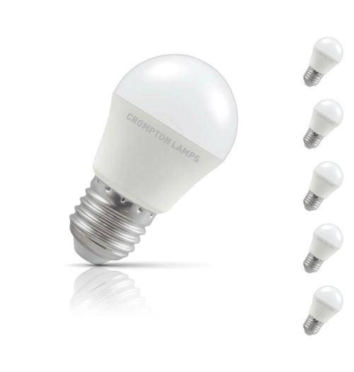 Crompton Golfball LED Light Bulb E27 5.5W (40W Eqv) Warm White 5-Pack Opal