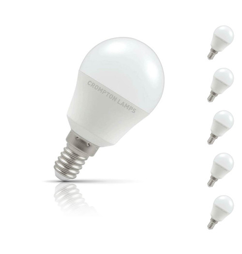 Crompton Golfball LED Light Bulb E14 5.5W (40W Eqv) Warm White 5-Pack Opal