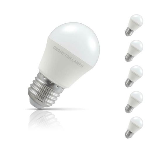 Crompton Golfball LED Light Bulb E27 5.5W (40W Eqv) Cool White 5-Pack Opal