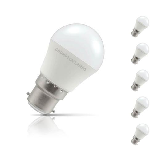 Crompton Golfball LED Light Bulb B22 5.5W (40W Eqv) Daylight 5-Pack Opal
