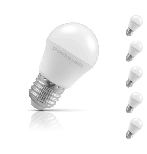 Crompton Golfball LED Light Bulb E27 5.5W (40W Eqv) Daylight 5-Pack Opal