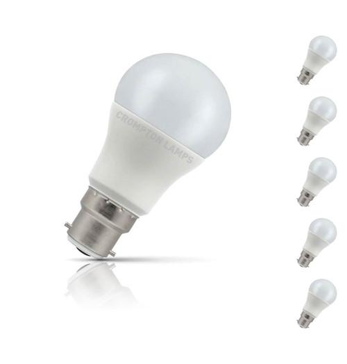 Crompton GLS LED Light Bulb B22 5.5W (40W Eqv) Warm White 5-Pack Opal