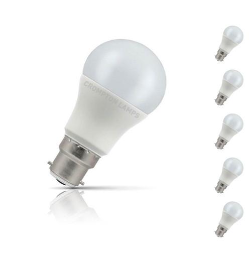 Crompton GLS LED Light Bulb B22 8.5W (60W Eqv) Warm White 5-Pack Opal