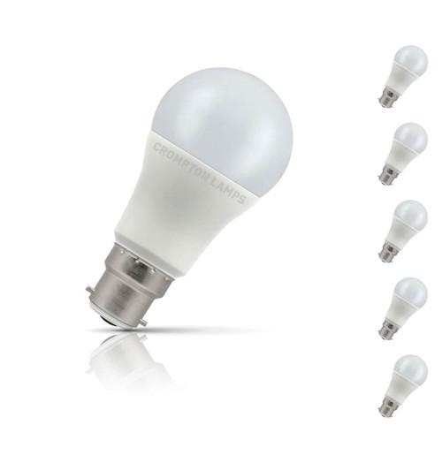 Crompton GLS LED Light Bulb B22 11W (75W Eqv) Warm White 5-Pack Opal