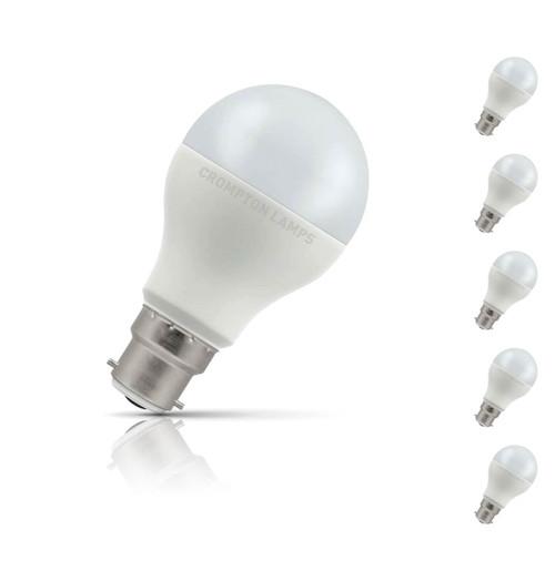 Crompton GLS LED Light Bulb B22 15W (100W Eqv) Warm White 5-Pack Opal