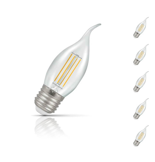 Crompton Candle LED Light Bulb Bent Tip E27 5W (40W Eqv) Warm White 5-Pack