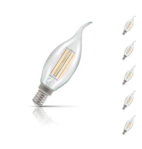 Crompton Candle LED Light Bulb Bent Tip E14 5W (40W Eqv) Warm White 5-Pack