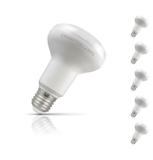 Crompton R80 Reflector LED Light Bulb E27 10W (100W Eqv) Warm White 5-Pack