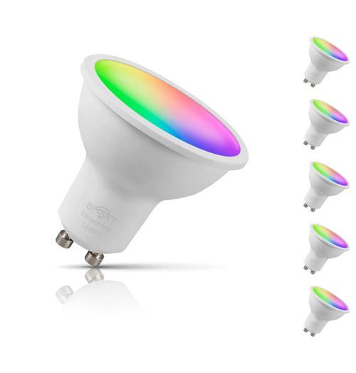 Crompton GU10 Spotlight LED Bulb Smart Wifi 5W (50W Eqv) RGB and Warm White 5-Pack