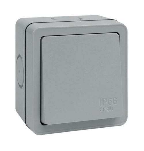 Hager 20A 1 Gang 1 Way Switch Sollysta Weatherproof Outdoor Grey IP66