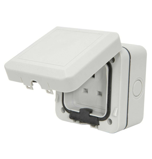 Mercury Weatherproof Outdoor Socket 250V 13A Grey IP66
