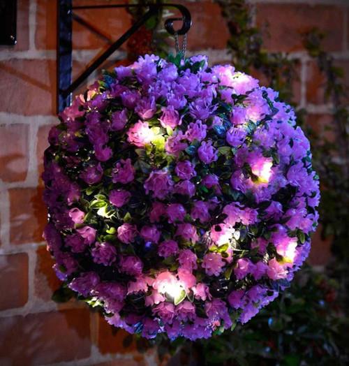 Solalite LED Topiary Ball Solar Mini Rose Purple 28cm Image 1