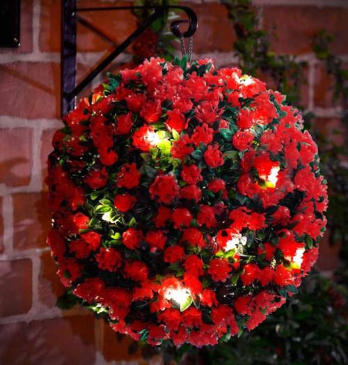 Solalite LED Topiary Ball Solar Mini Rose Red 28cm Image 1