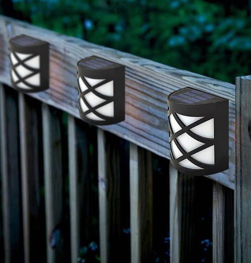 Solalite LED Fence Light Solar 2-Pack Black Decorative Image 1