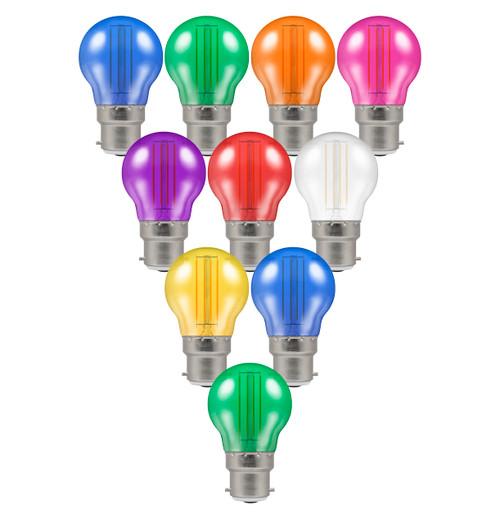 Crompton Golfball LED Light Bulb Festoon B22 4.5W (25W Eqv) Mixed 10-Pack