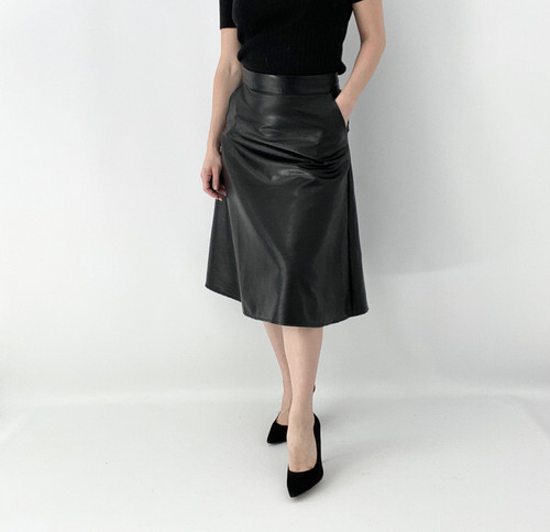 Lily White Leather Look Skirt 11430