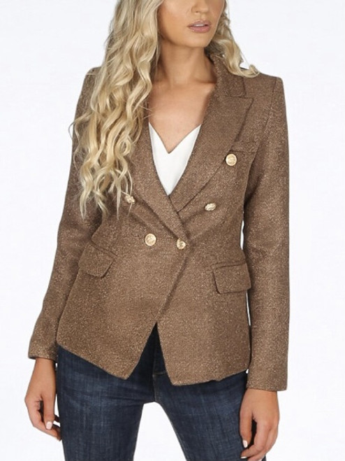 The Edit Woven Blazer - Taupe